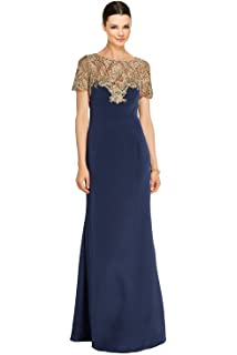 bef08d8f5f6a Marchesa Notte Metallic Embroidered Tulle Cap Sleeve Evening Gown Dress