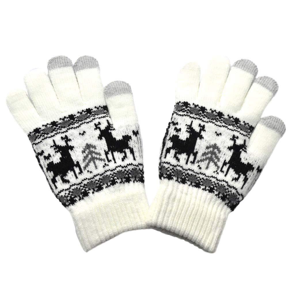 Christmas Men Women Gloves,Alalaso Winter Warm Knitted wapiti Pint Screen Cute Mittens 20X11cm (White)