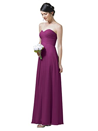 AWEI Bridal Berry Long Bridesmaid Dresses for Women Ruched Chiffon Evening Prom Dress