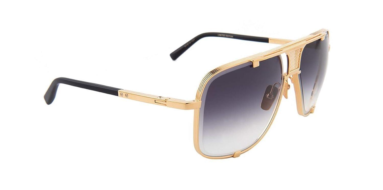 ef5a64fa27a70 Amazon.com  Dita Mach-Five Limited Edition Sunglasses Yellow Gold - Matte  Black 64mm  Clothing