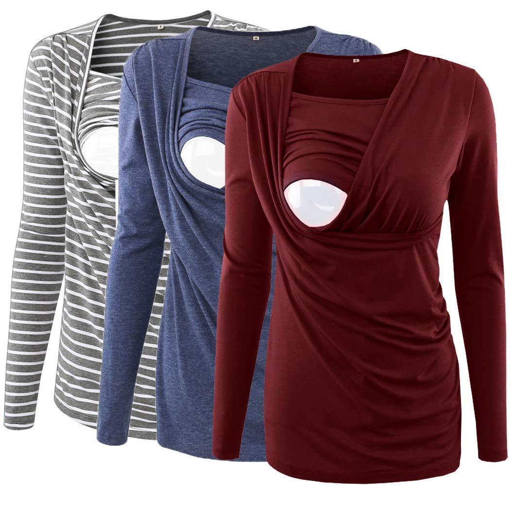 Ecavus 3 Packs Womens Ruched Side-Shirred Nursing Top Breastfeeding Tee Shirt