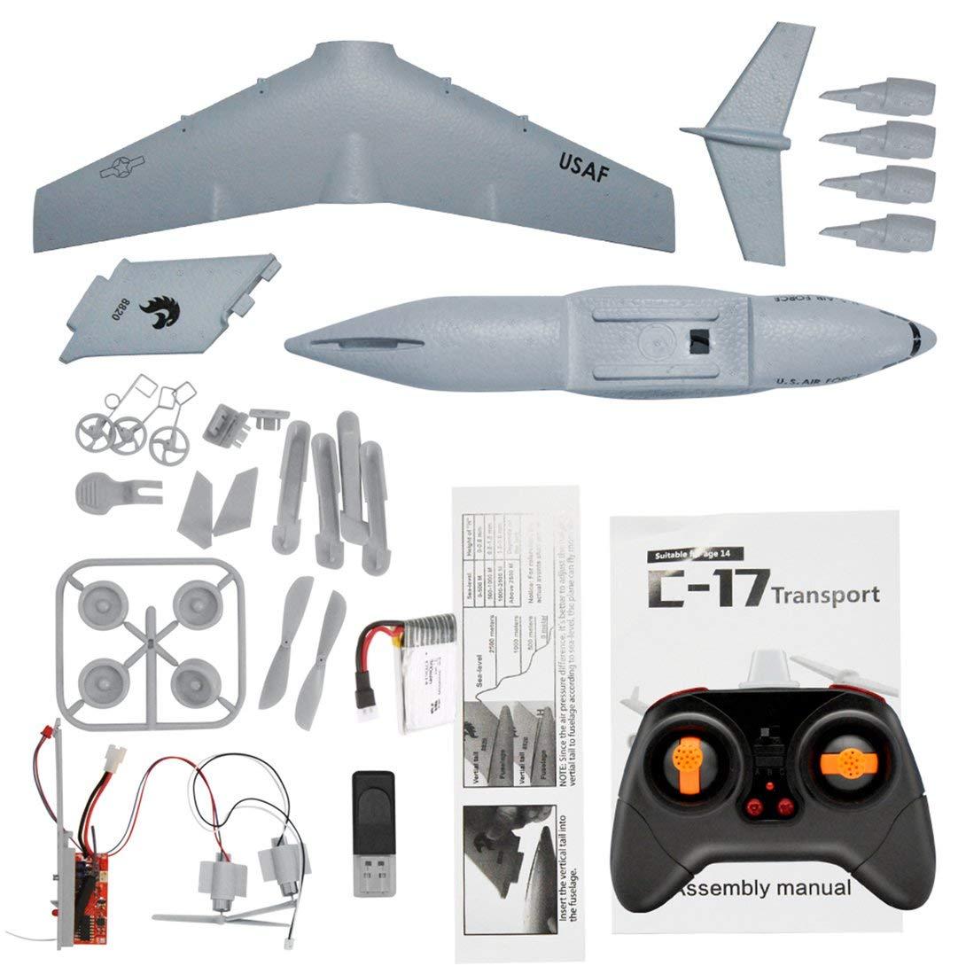Swiftswan C17 Transportflugzeug 373mm Spannweite EPP RC Drone Flugzeug 2,4 GHz 2CH 3-achsen DIY Flugzeug für Kinder Spielzeug weiß