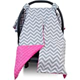 Premium Carseat Canopy Cover / Nursing Cover- Large Chevron Pattern w/ Hot Pink Minky | Best Infant Car Seat Canopy for Girls | Cool/ Warm Weather Car Seat Cover | Baby Shower Gift 4 Breastfeeding Mom