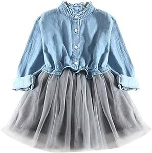 Toddler Baby Girls Long Sleeve Denim Tulle Dress Princess Tutu Dress Cowboy Clothes(100, Blue)