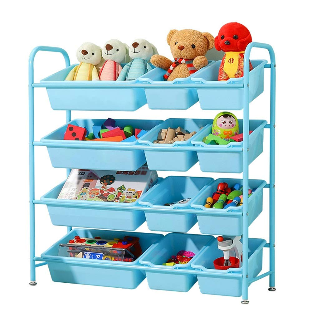 JAJXRCK Kids Toy Storage Organizer Child Toy Storage Unit 4-Tier Toy Shelf with 12 Plastic Boxes - Blue Storage Box Shelf Drawer (Color : Blue, Size : 843095cm)