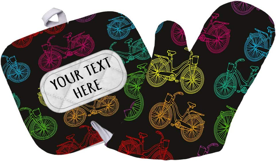 Polyester Oven Mitt & Pot Holder Set Custom Bicycles Seemless Pattern Adults Heat Resistant Pads