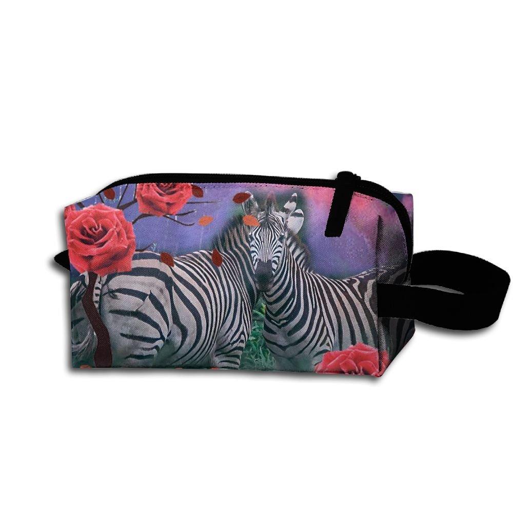 メイクアップコスメティックバッグZebraクリエイティブデザインアートMedicine Bag Zip旅行ポータブルストレージポーチforメンズレディース   B07DWNHJ1F