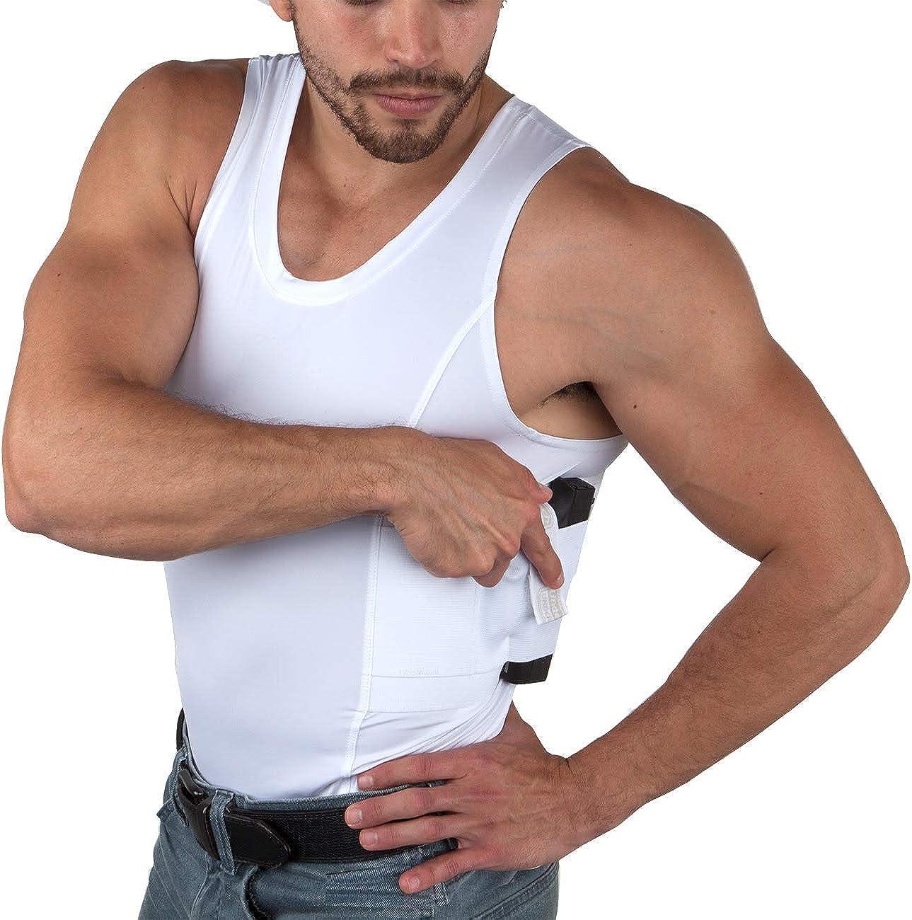 Medium Men/'s Undertech Undercover Conceal Pockets Tank Top Travel T-shirt White