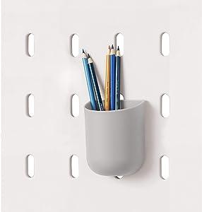 "iDesign Cade BPA-Free Plastic Modular Hanging Pegboard Organizer Storage Cup, 3.2"" x 3.04"" x 4"", Gray"
