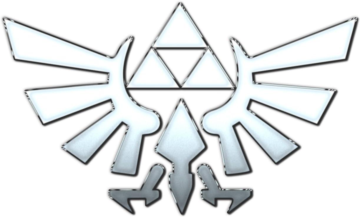 "Bargain Max Decals Zelda Inspired Wings White Silver Symbol Window Laptop Car Sticker 5.5"""