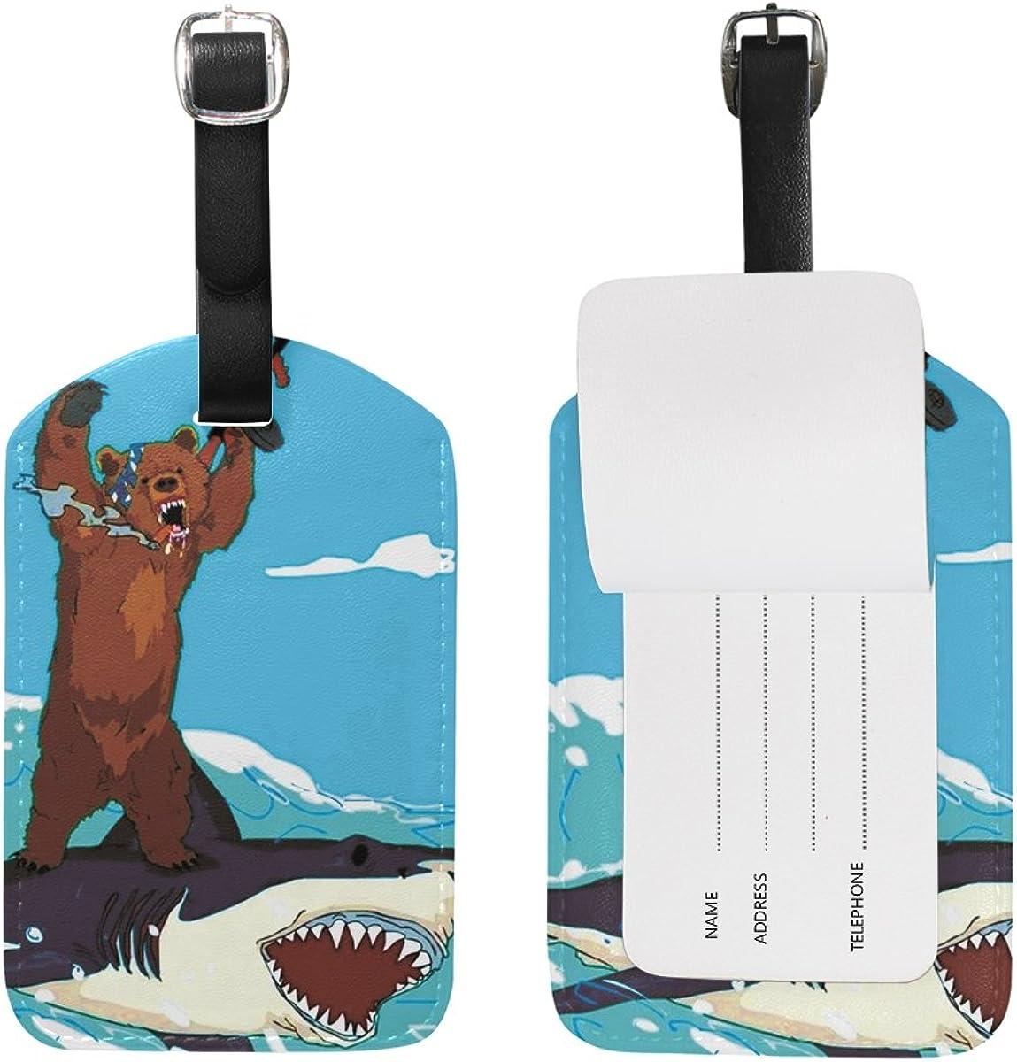 Shooting Bear Ride Shark Luggage Tags