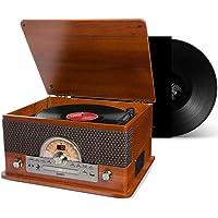 Toca Discos Vinil Retro Bluetooth Fita Cassete Vitrola CD Pen Drive Radio FM USB