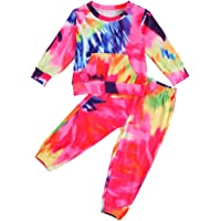 Kids Toddler Baby Girl Tie Dye Tracksuit Outfit Crewneck Top and Pants 2Pcs Clothes Set Sweatsuits Jogging Suits