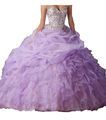 33ba9f51ad Dengfeng Women s Sweetheart Beads Princess Sweet 15 Quinceanera Dresses at Amazon  Women s Clothing store