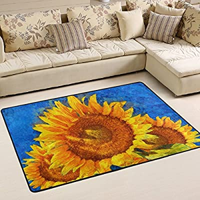 WOOR Sunflowers Van Gogh Style Living Area Rugs for Living Room Bedroom Dining Office 6 x 4 Feet Modern Floor Mat Home Decor