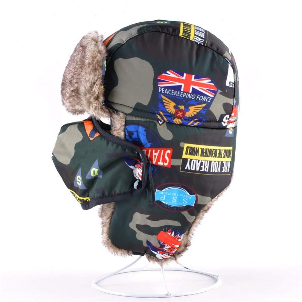 Camouflage Bomber Hats Boys Masks Cap Childrens Winter Hat Keep Warm Ear Flaps Bone Girls Faux Fur Caps