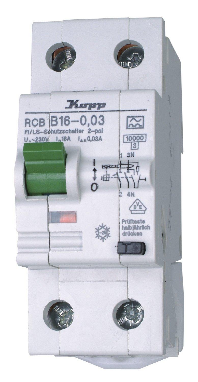 30mA 2-polig 16A Kopp 741615017 Green Electric Fehlerstromschutzschalter FI//LS-Kombination RCB