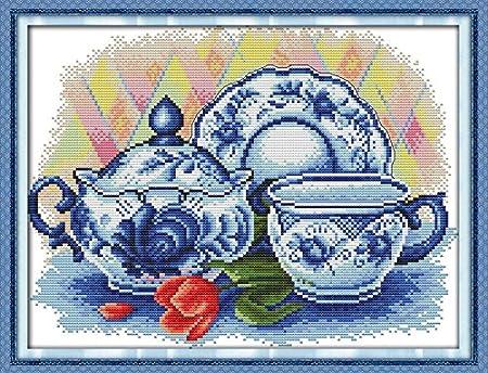 Joy Sunday Cross Stitch Kit 14CT Stamped Embroidery Kits Precise Printed Needlework Japanese Teacup 28/×21CM