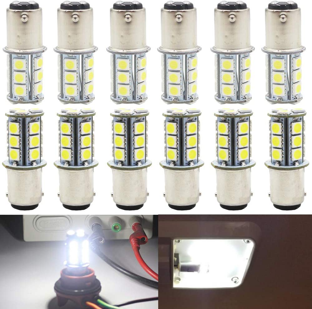 AMAZENAR 12-Pack BA15D 1142 1076 1176 Soft Warm White 3000k LED Light 12V-DC 5050 27 SMD Car Replacement For Interior RV lighting Camper Turn Signal Light Lamps Tail BackUp Bulbs