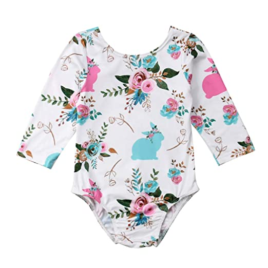 249594db7fa3 Amazon.com  Easter Baby Girl Romper Bunny Floral Jumpsuit Long ...