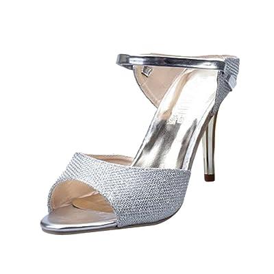 Beautyjourney Sandales Dorees Femme, Sandales Minceur Femmes Dames Sandales Cheville Talons Hauts Block Party Open Toe Chaussures Tongs Massantes