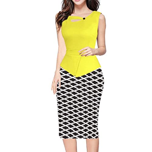 pqdaysun Women's Floral Print Sleeveless Midi Bodycon Business Pencil Dress