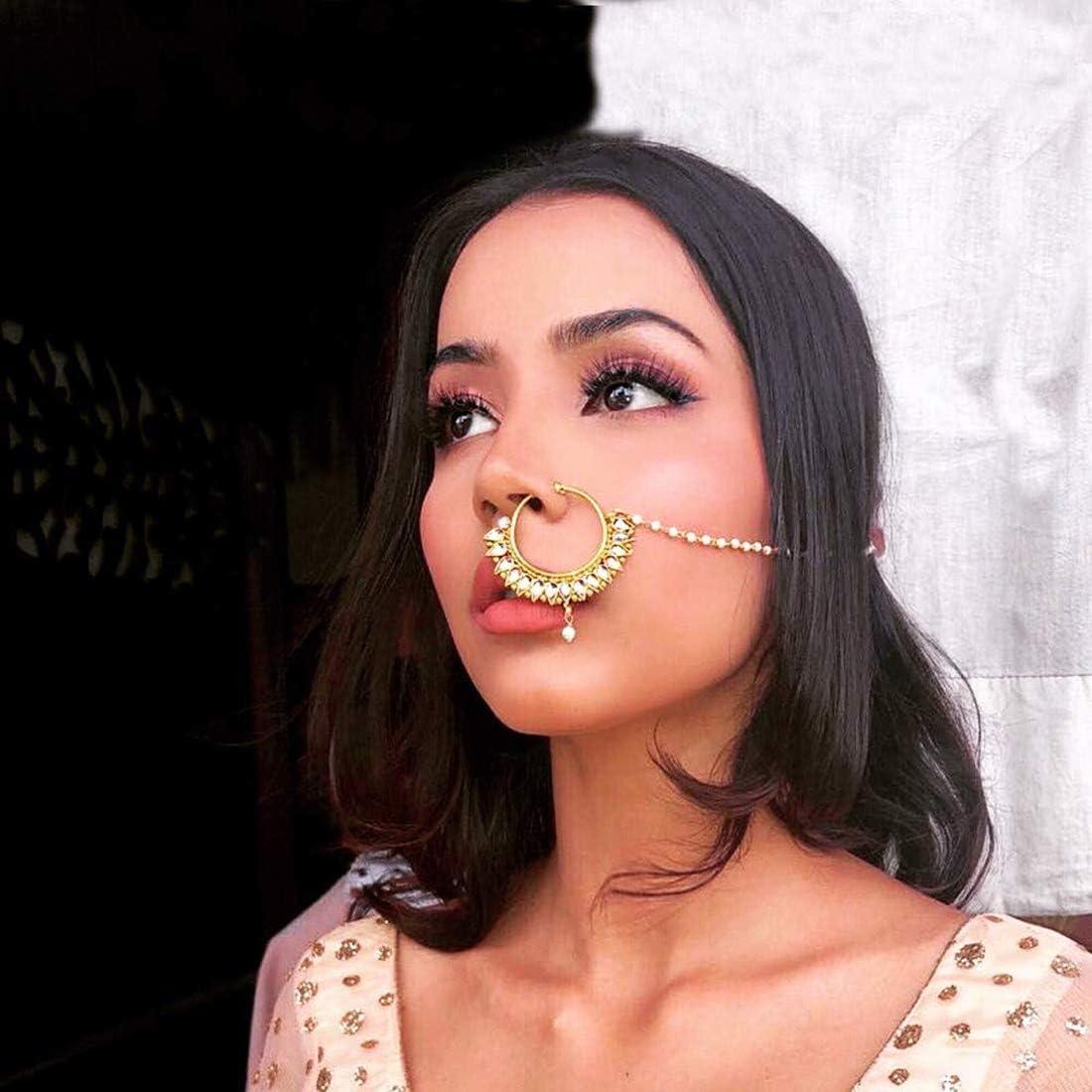 Aheli Bague de Nez Indienne Bollywood AD Nath Pearl Cha/îne superpos/ée Femme Padmavati Bijoux