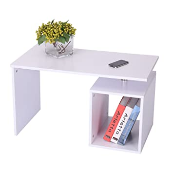 HOMCOM End Coffee Table Home Office Storage Display Desk Cabinet Stand  Shelf White