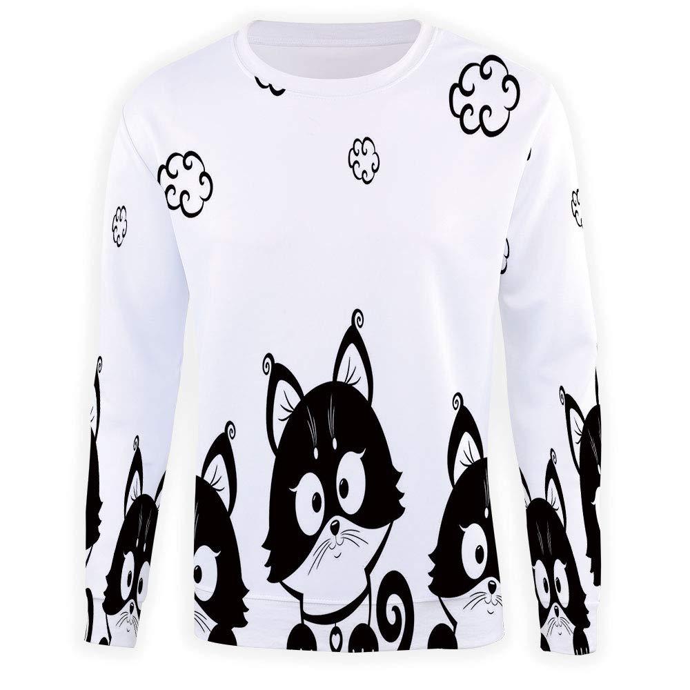 MOOCOM Adult Black and White Crewneck Sweatshirt