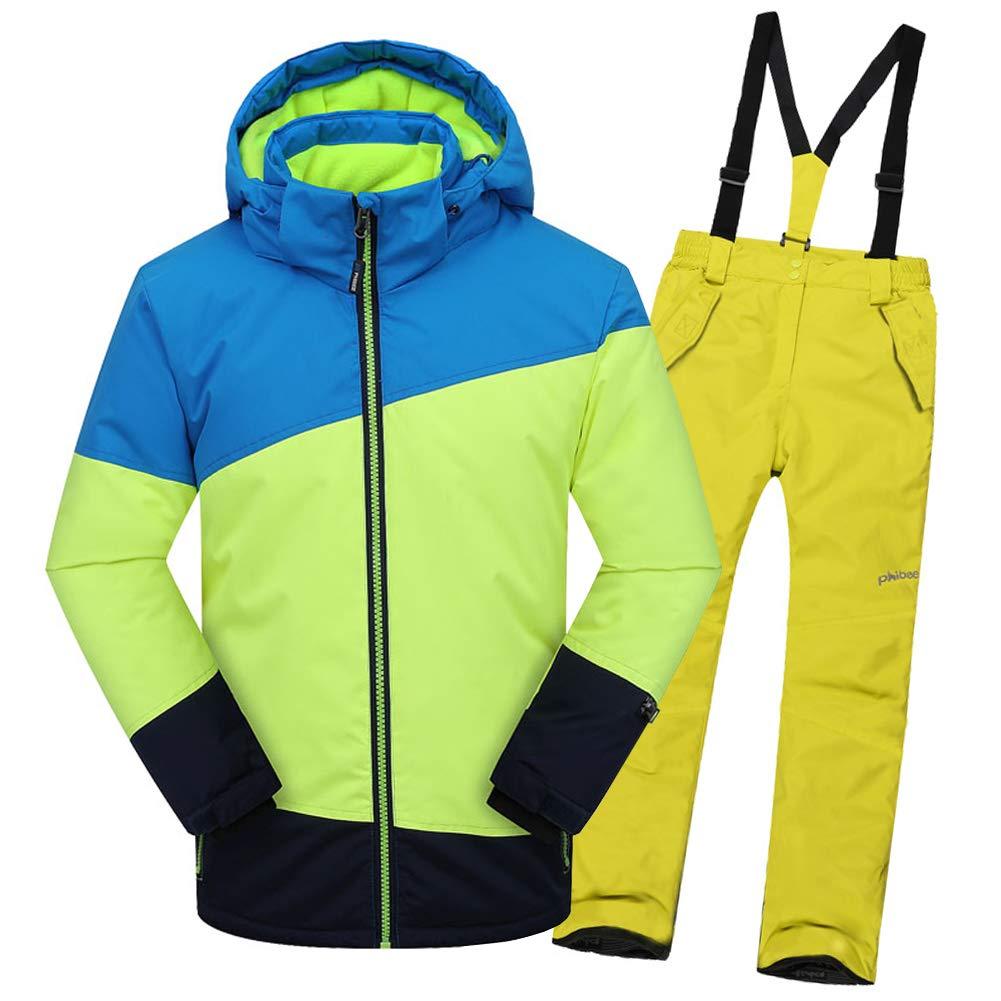 Top+pantalon Jaune A 7-8 ans  hauteur recomhommedée 130-140cm LPATTERN Enfant Garçon Fille Ensemble de Ski Coupe-Vent Combinaison Unisexe de Ski Imperméable Chaud épais 2PCS 3-13ans