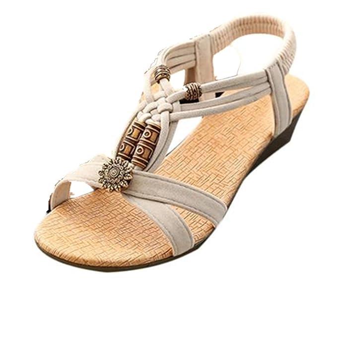 Sannysis Damen Sandalen,Sommer Peep-Toe Flache Schnalle Roman Schuhe (37, Schwarz)