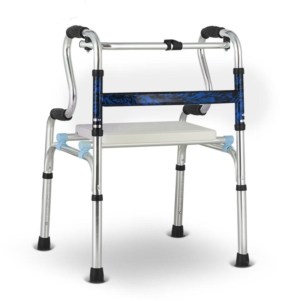 アルミ合金ロールレーターウォーカー老人四足リハビリ折りたたみ可能なノンスリップは、残念なことにポータブルチェアを座らせることができます (色 : 青) B07DBX13R1 青 青