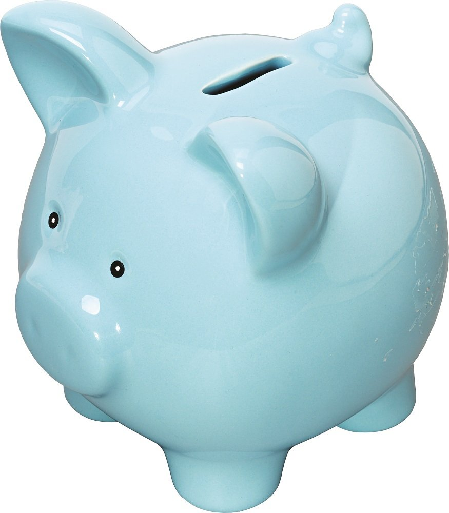 Classic Style Ceramic Plain Piggy Bank in Gift Box (Blue) - other colours available.