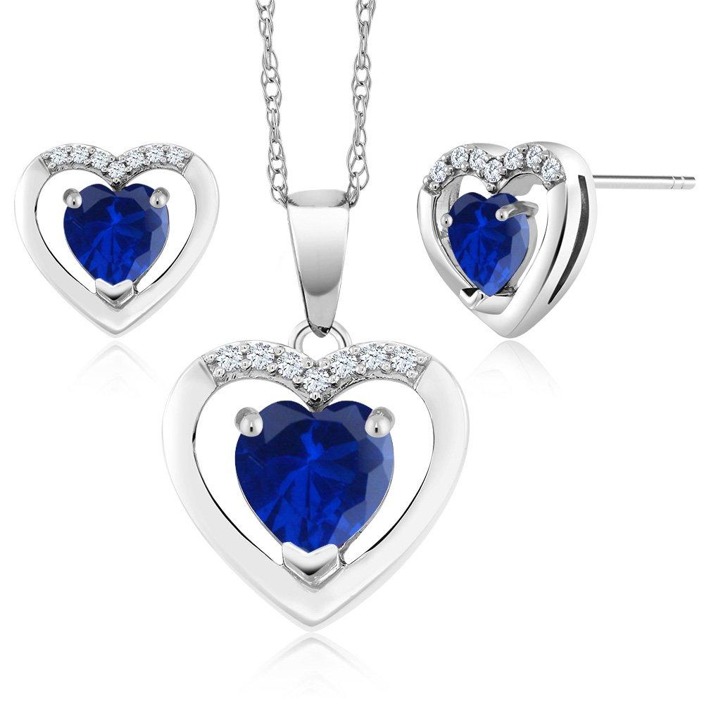 10K White Gold 1.95Ct Heart Blue Simulated Sapphire Diamond Pendant Earrings Set