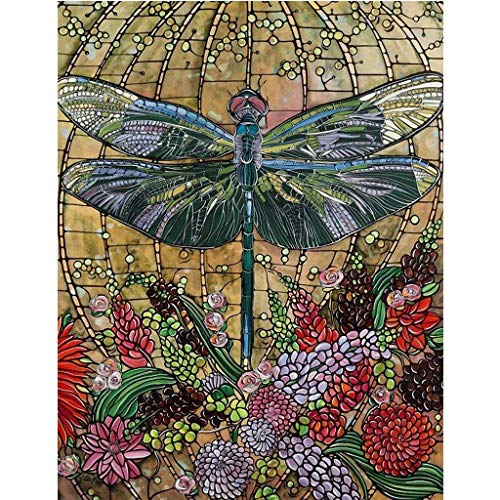 Theoylos DIY 5D Diamond Painting by Number Kits, Crystal Rhinestone Embroidery Paint with Diamonds, Full Drill Canvas Art Picture for Home Wall Decor, Dragonfly (30x40cm, D)]()