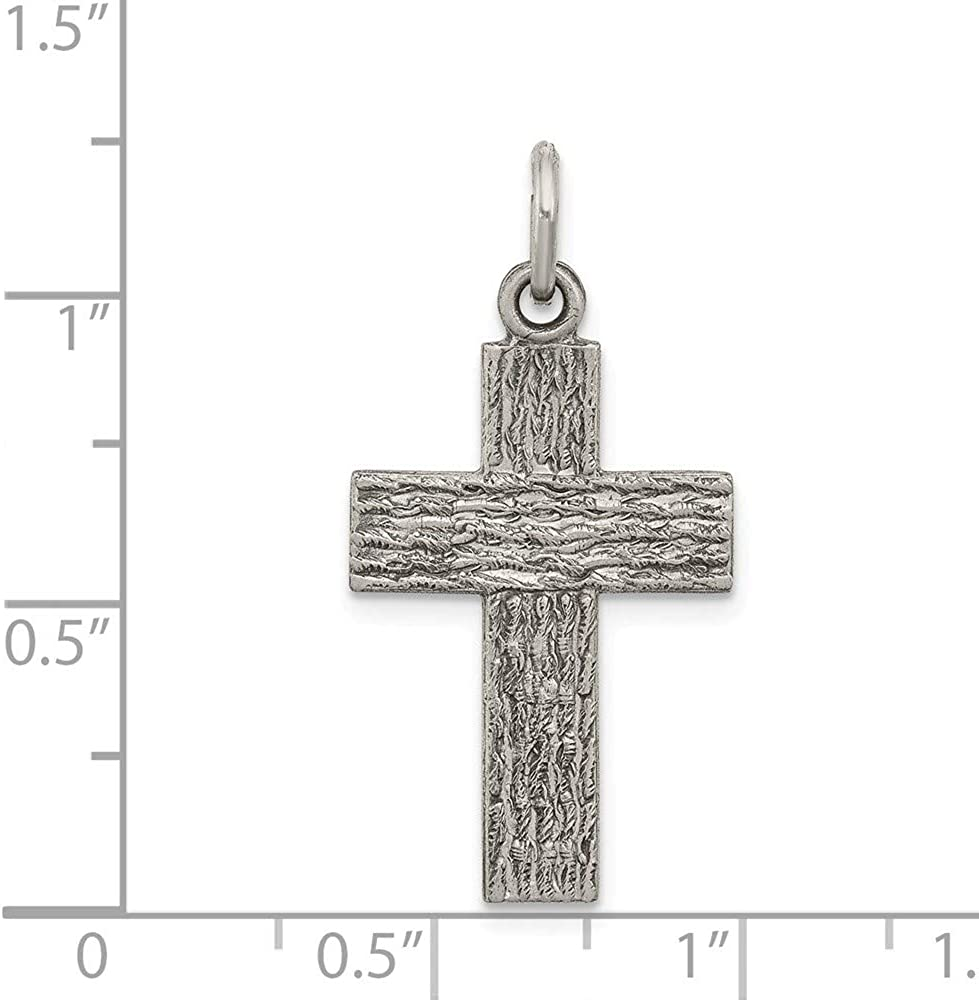 Solid 925 Sterling Silver Vintage Antiqued Cross Charm Pendant 27mm x 16mm