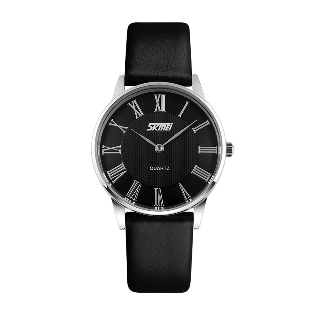 TONSHEN Fashion Analog Quartz Watch for Men Women Roman Numeral Casual Business Wristwatch, Ultra Thin 7MM Stainless Steel Case 30M Water Resistant Leather Band – Black