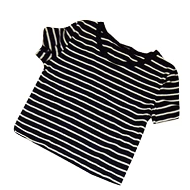 Weixinbuy Womens Sexy Striped T-shirt Casual Midriff Short Striped ...