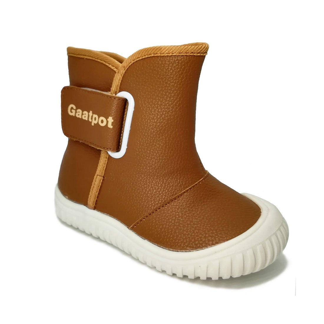 Oderola Baby Faux Fleece Winter Boots Toddler Boys' Waterproof Warm Snow Boots