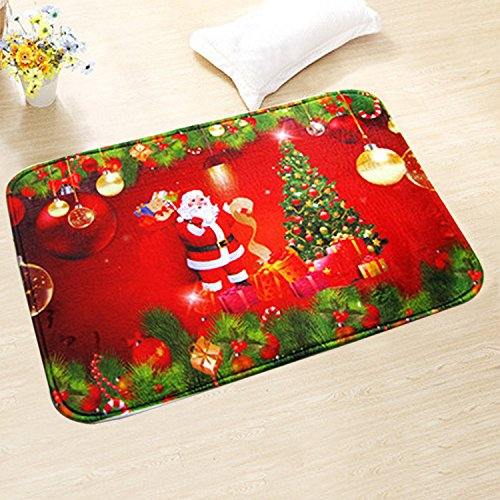 YJ.GWL Merry Christmas Doormat Welcome Door Mat Rug Indoor/Outdoor Mats Decoration Rug for (Bedroom Santa)