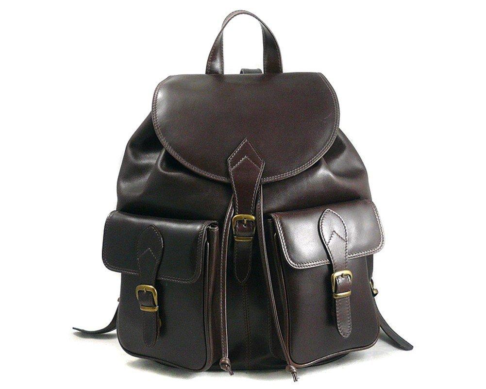 SAGEBROWN Brown Large Leather Rucksack