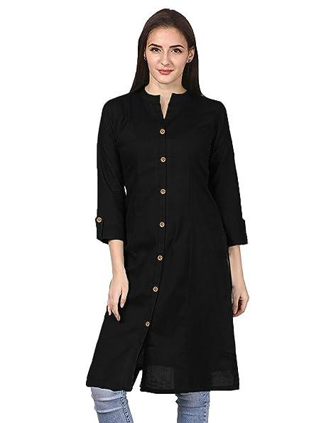 Vastraa Fusion Women Solid Straight Cotton Khadi Kurta/Kurti - Available in 25 Colour and 9 Size Options Maternity Kurtas & Kurtis at amazon