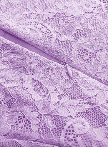 Plisado Línea Elegante A Lavanda Manga MuaDress Cóctel Corta Cinturón Y Encaje con Vestido Corto Mujer 41IqYg