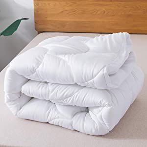 """Rurarest Mattress Topper Queen Size with Fitted Skirt - Hypoallergenic, Breathable, Soft Bamboo Mattress Pad Cover Fits 8-20"""" Deep Pocket"""