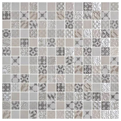 (Daltile Uptown Glass Metro Cream 1 x 1 Metro & Exotic Mosaic UP07)