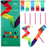 AITIME 10 Pieces 2 Meters Gym Gymnastics Dance Ribbons,Rainbow Dancer Ribbons with Twirling Wands for Kids Dancing,CE…