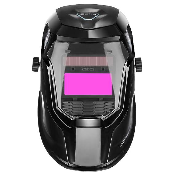 DEKO Casco para soldar con energía solar PRO Casco de oscurecimiento automático con rango de sombra ancha ajustable 4/9-13 para máscara de soldador de arco ...