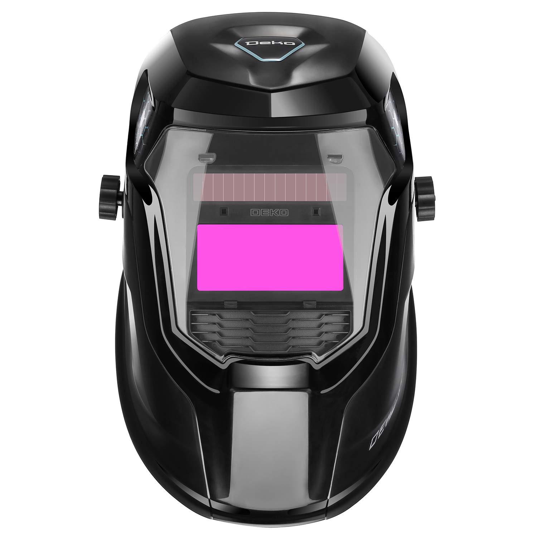 DEKOPRO Solar Powered Welding Helmet Auto Darkening Hood with Adjustable Wide Shade Range 4/9-13 for Mig Tig Arc Welder Mask by DEKOPRO (Image #1)