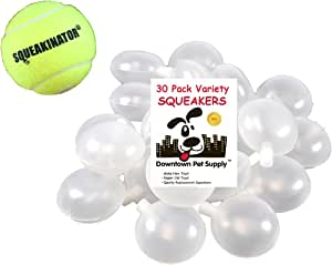 Downtown Pet Supply 30 Squeakers, Variety Pack (10 Medium, 10 Bellowed, and 10 Large Squeakers) + Free Tennis Ball That SQUEAKS, The SQUEAKINATOR
