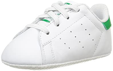 adidas Originals Stan Smith Crib White/Green Leather 2 M US Toddler